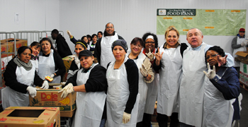 Team members volunteering at the L.A. Food Bank
